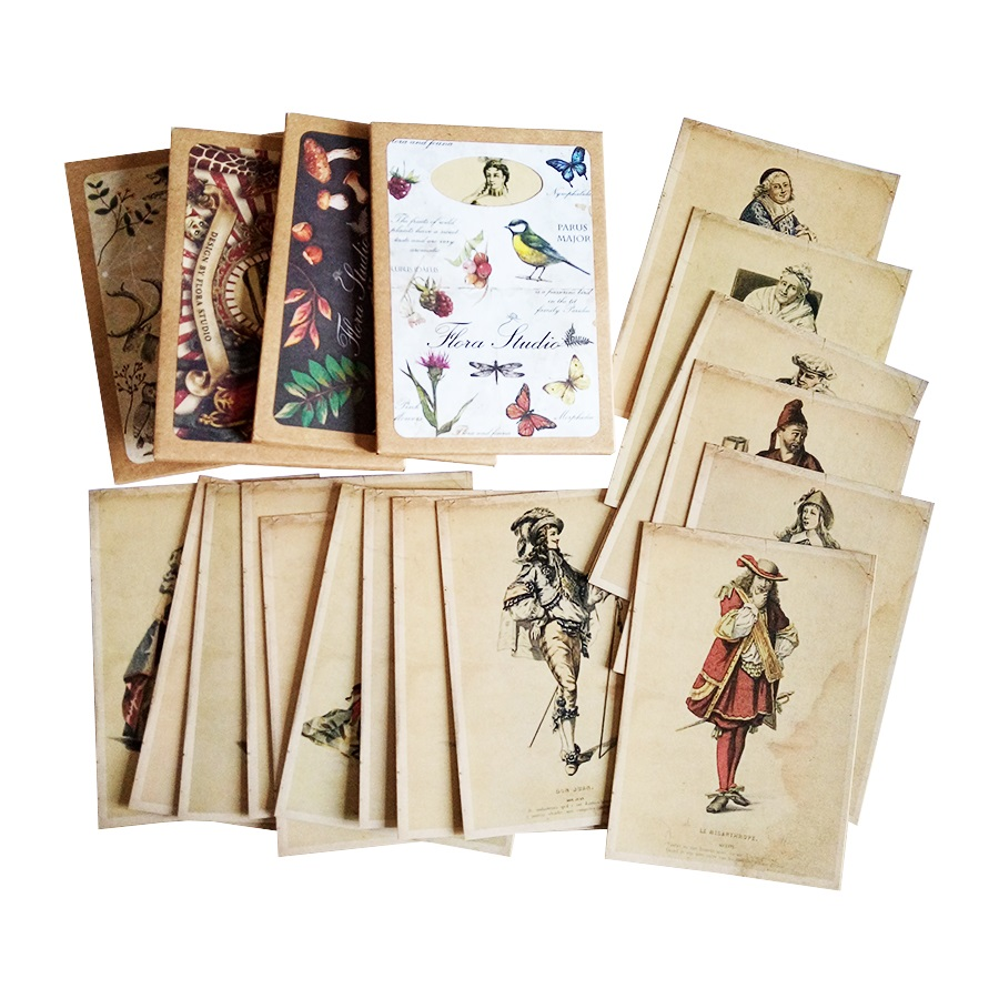 16 Pcs/lot Vintage Business Cards Retro Postcard Europe Ladies And Gentlemen Greeting Post Card Gift Cards Christmas New Year