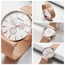 GIMTO Luxury Brand Watch Men Steel Rose Gold Quartz Watch Lover Dress Casual Wristwatches Male Clock Reloj Hombre Relogio Montre