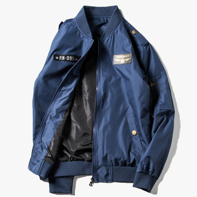 2017 New Men Bomber Jacket Hip Hop Letter Printed Slim Fit Pilot Bomber Jacket Coat Men Windbreak Jackets Plus Size 4XL