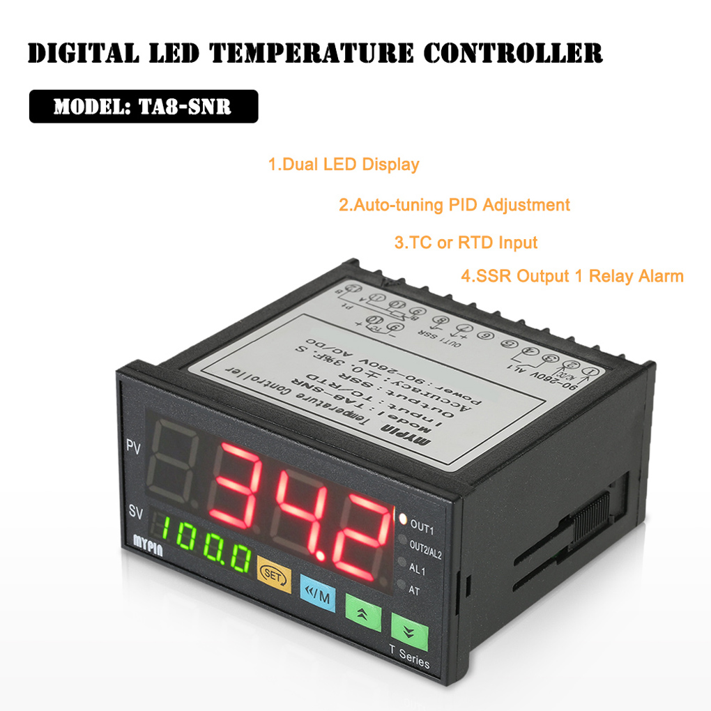 Aliexpresscom Ta8 Snr 90 265v Ac Dc Mypin Dual Digital F C Pid Complete Package Temperature Controller Thermocouple Probe Ssr Output 1 Relay Alarm Thermometer