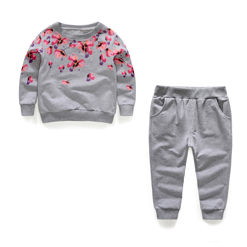 1-6Y Spring autumn girls clothing sets floral printed casual two-piece sport suits for kids tracksuit children clothing 80-120cm uovo brand kids spring autumn new sport shoes for girls green color casual sneakers kids fashion canvas shoe zapatos eu 30 37