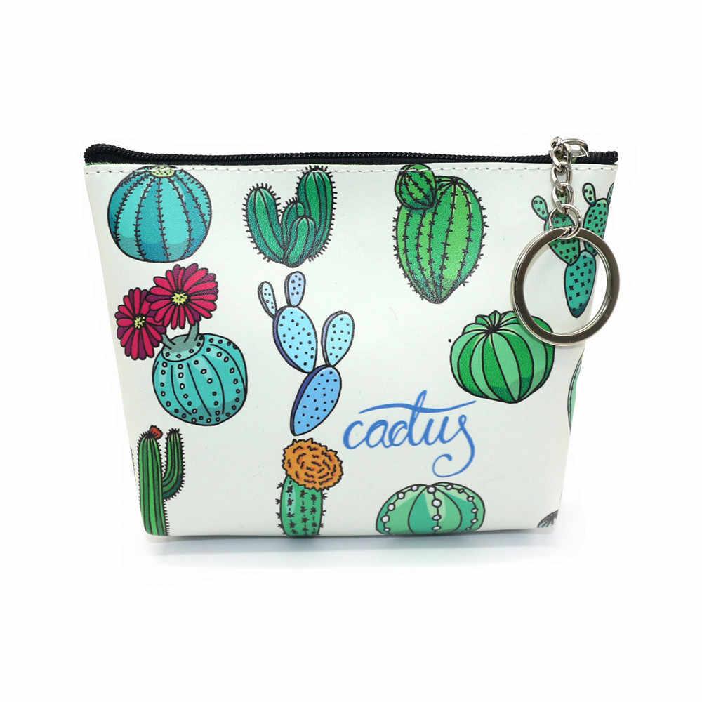 Bolsa Mulheres Meninas Impressão cactus cactus Flor Lanches Dinheiro Bolsa Da Moeda Mudança Bolsa Chave Titular bonito bolsa monedero monedas