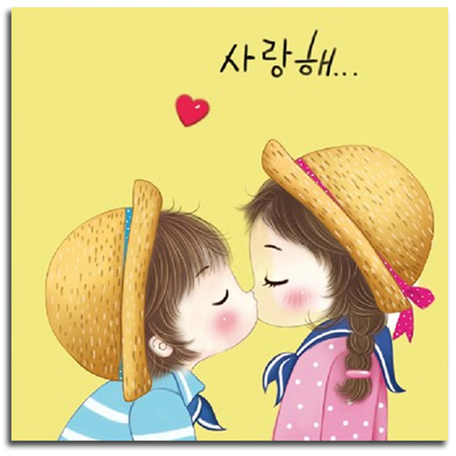 Children Kiss Diamond Embroidery Cartoon Pictures Of Diamonds 3d