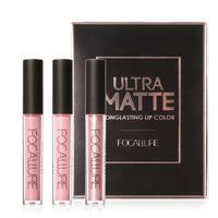 Focallure 3 Pcs Matte Lip Gloss Kit Waterproof Long Lasting Nude Color Mineral Pigment Metallic Shiny