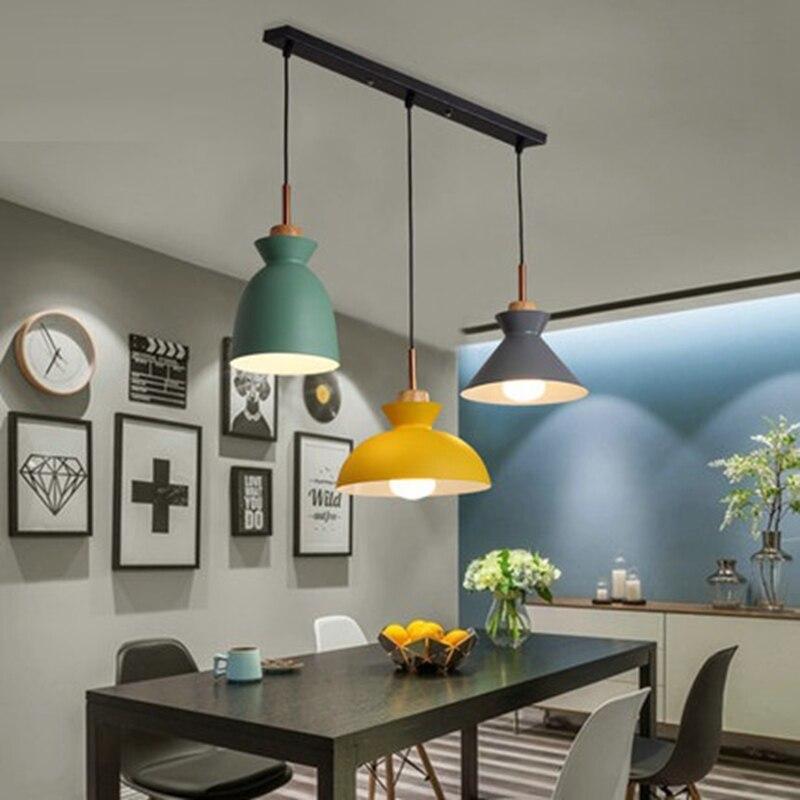 Lot de 3 lampe de Table à manger lumières macaron coloré LED lampe pendante moderne lampe pendante pour cuisine île plafond salle éclairage