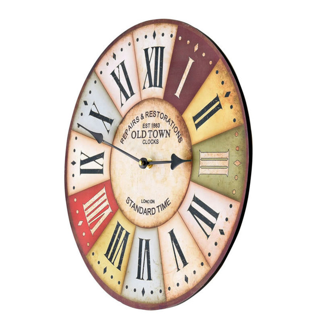 Classic  Pastoral  Wooden Wall  Clocks Decorative Wall Hanging Clock Creative European  Pattern Home Decor Gifts
