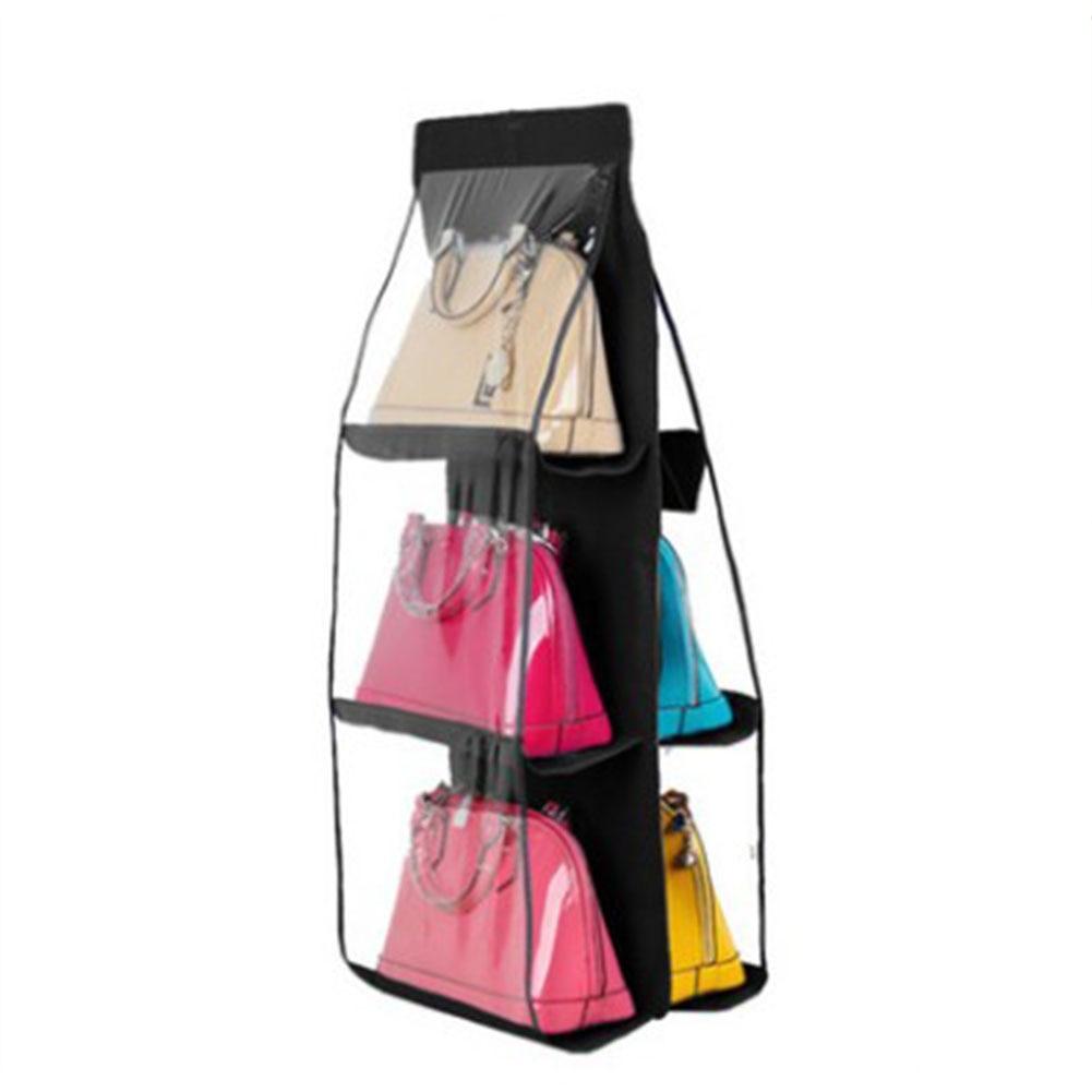 New Fashion 6 Layer Closet Hanger Handbag Shoe Clothing Storage Holders  Tidy Family Organizer Backpack Handbag Storage Bags
