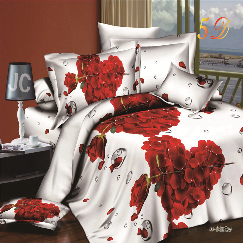 aliexpresscom buy romantic heart shaped rose 3d bedding set cotton bedroom textiles sets duvet cover bed sheets pillowcases for queen size beds from - Romantic Bed Sets