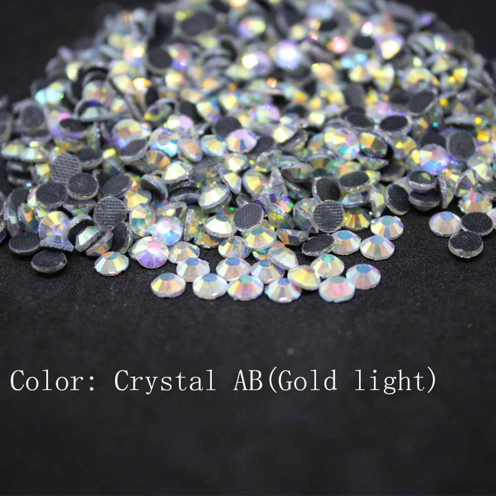Crystal AB(gold) SS16-SS40 Machine Glass Material DMC Hotfix Rhinestones Flatback For Clothing Decoration