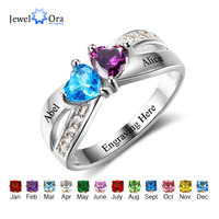Promise Rings Personalized Jewelry Engrave Name Custom Birthstone Ring 925 Sterling Silver Rings For Women JewelOra