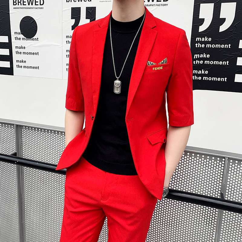 Personnalisé Hommes décontracté 7-manchette de costume, version Coréenne, moyen à manches costume, à la mode hommes de neuf-pantalons de cent, deux-piece suit.