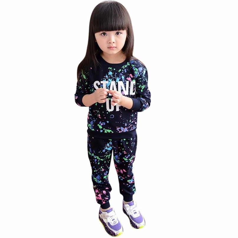 3 Colors 2017 Lovely Kid Girls Boy Color Paint Letters Long Sleeve Sweater+Pant Sports Suit drop shipped ST28