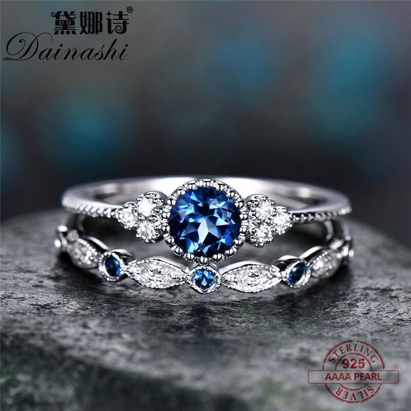 Dainashi Fashion Blue Exquisite Zircon 925 Slivering 2 Pieces / Set Rings Lovers Finger Rings For Fashion Women With Jewelry Box