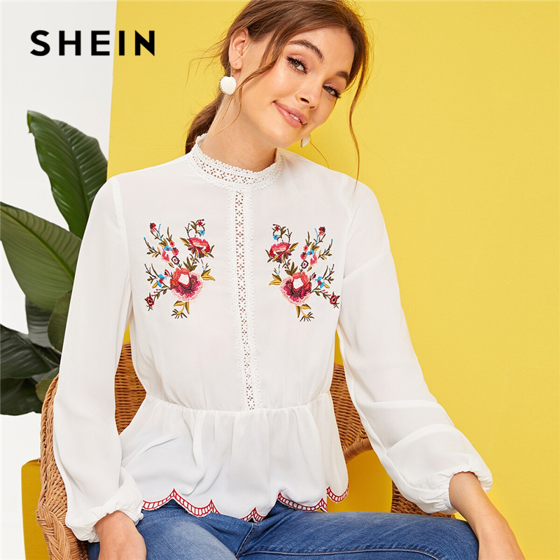 f56a1367f7 SHEIN Mock-Neck Lace Insert Embroidered Detail Top White Spring Summer  Stand Collar Ruffle Hem