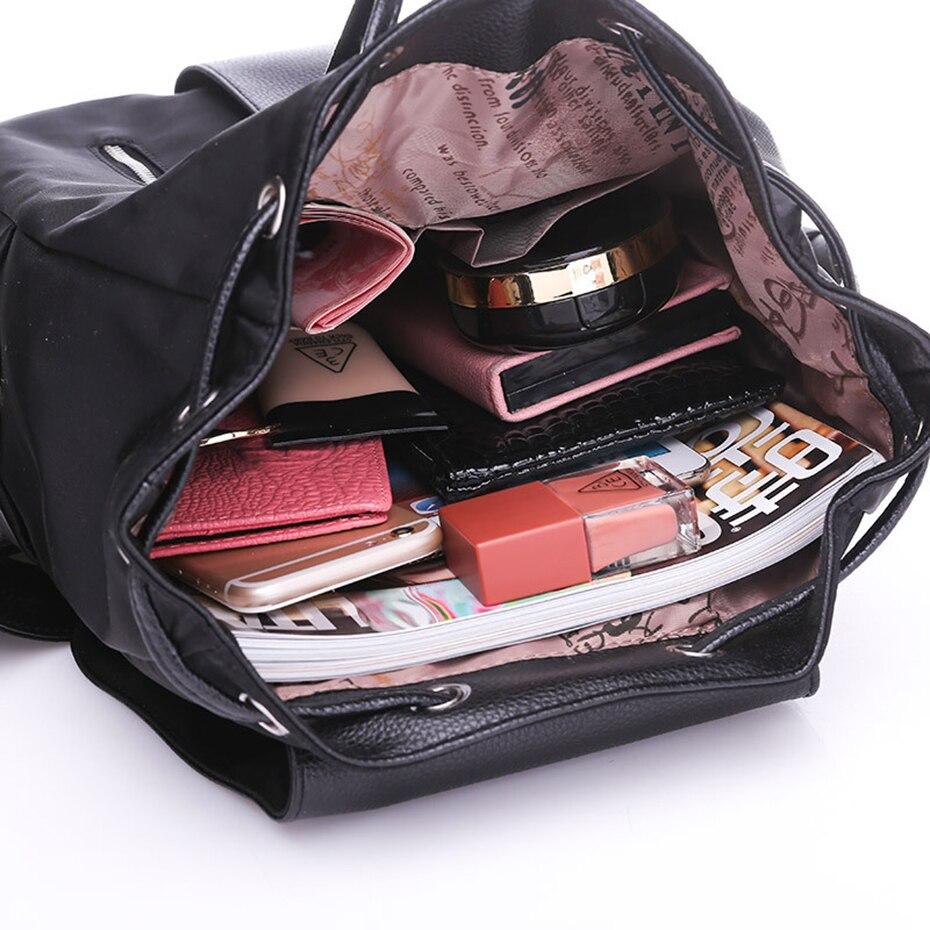 Women Backpack School Bags For Teenager Girls Nylon Zipper Lock Design Black Femme Mochila Backpack black one size 20