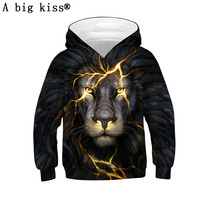 Explosion lion head digital print children's sweater sweater Europe and America large size sweatshirt boys 3D sweatshirts