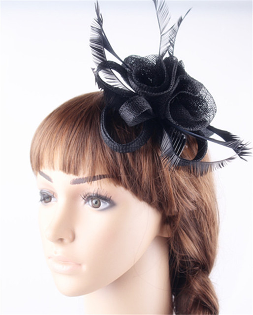 Black or 21Colors DIY small roses fascinators hair comb sinamay fashion  feather headdress elegant women church party accessories 9c2a5f1e37e