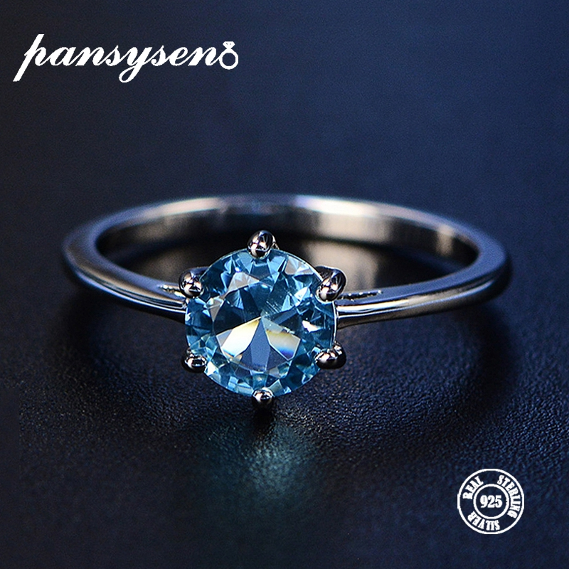 PANSYSEN New Real 100% 925 Sterling Silver Aquamarine Rings Ladies Top Quality 8 Colors Gemstone Jewelry Party Ring Size 4-12