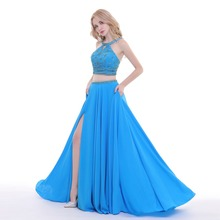 Finove 2019 Prom Dresses A-Line Two Pieces Blue Party Dress