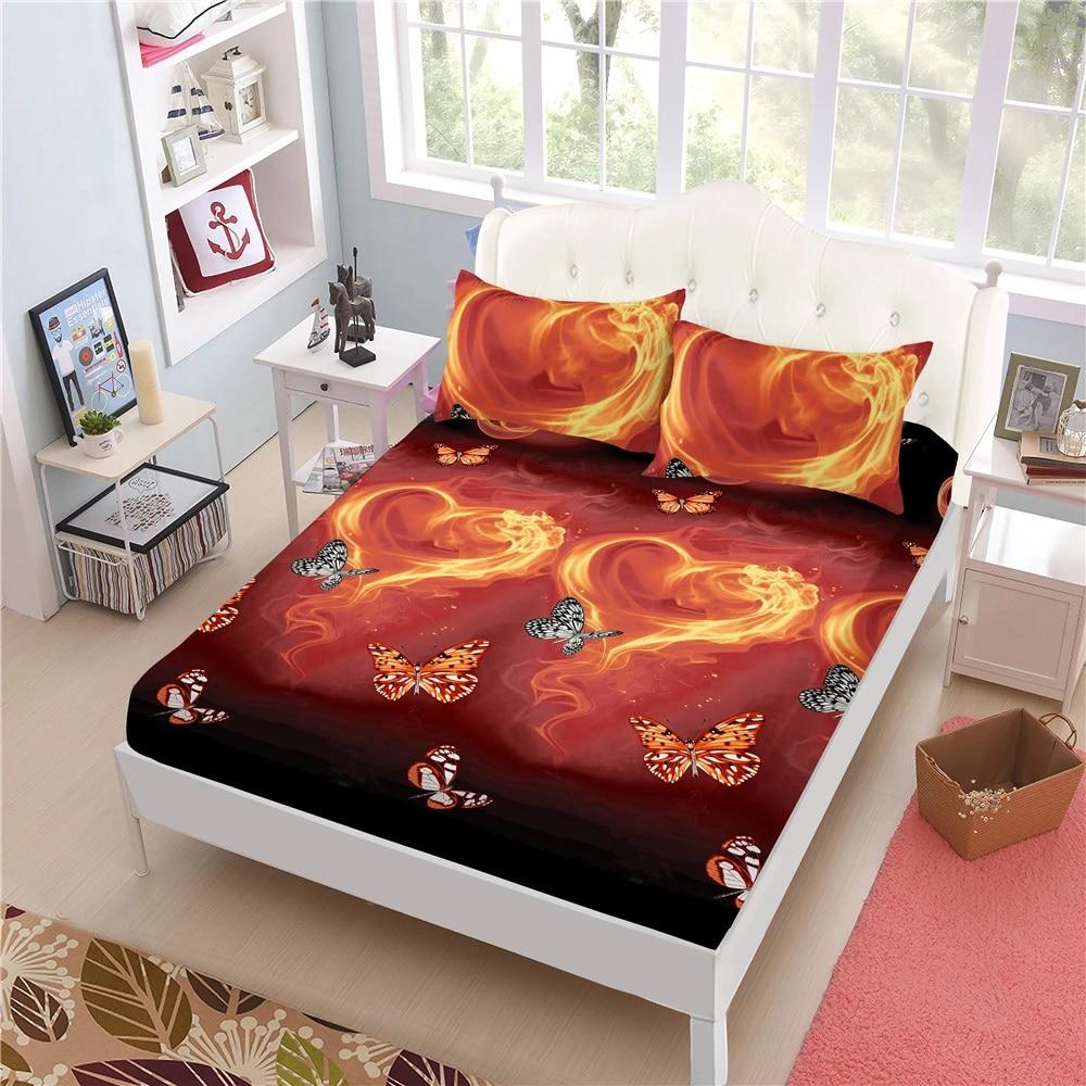 3d Fire Butterfly Print Sheets Set King Queen Bed Sheets Heart Shape Elastic Fitted Sheet Pillowcase Mattress Cover 4pcs D49 Bedding Sets Aliexpress