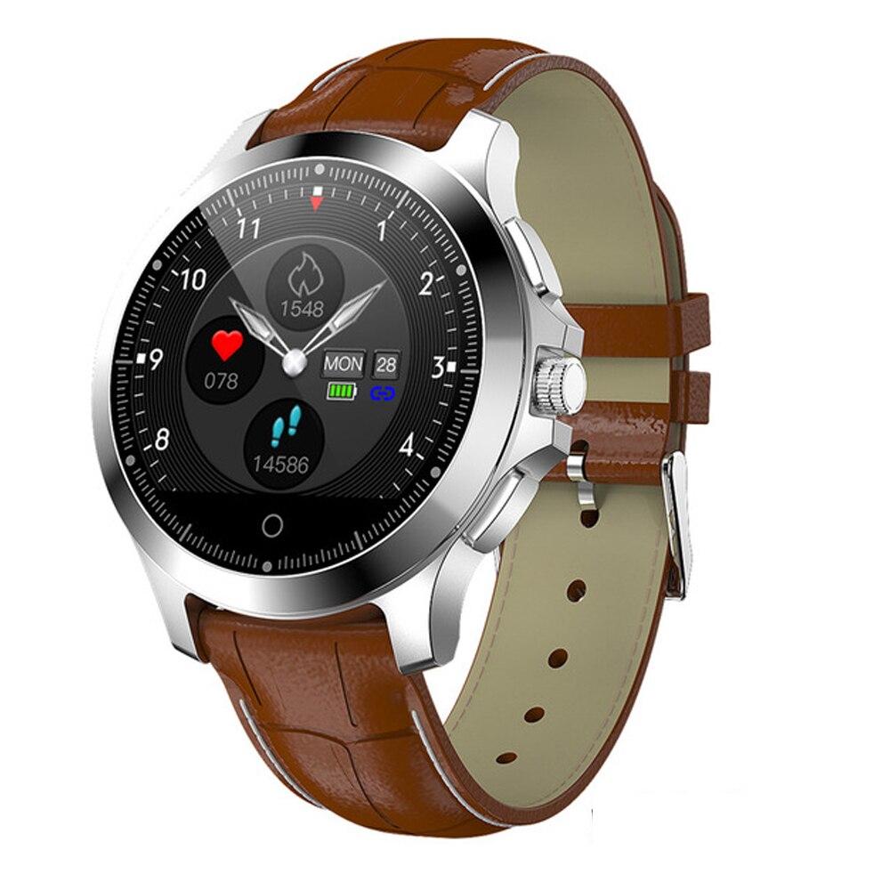 W8 montre intelligente ECG + PPG moniteur de fréquence cardiaque Fitness Tracker montre-bracelet IP67 étanche bande intelligente hommes Smartwatch montre en cuir