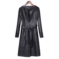 Natural Sheepskin Leather Jacket For Women Lambskin Leather Long Coat Female Top Quality Lady Winter Genuine
