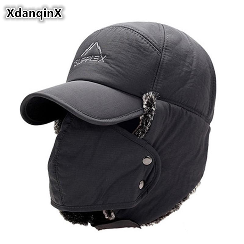 XdanqinX Men's Ear Protection Face Bomber Hats Thicker Plus Velvet Warm Woman Winter Hat Resist The Snow Male Bone Cap Ski Hat