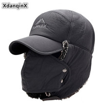 XdanqinX Mens Ear Protection Face Bomber Hats Thicker Plus Velvet Warm Woman Winter Hat Resist The Snow Male Bone Cap Ski Hat cheap Polyester Cotton Unisex Size 56-60cm Solid Adult