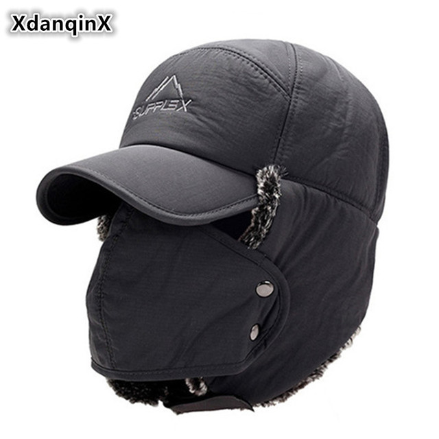 XdanqinX hombres oído protección cara Bomber sombreros más gruesa de terciopelo  cálido invierno mujer sombrero resistir 033e3425022