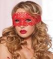 Lencería Sexy Rojo Negro Máscara de Encaje Velo Hueco Gafas Club Cosplay Mujeres Noche Ropa Interior Caliente de La Muñeca