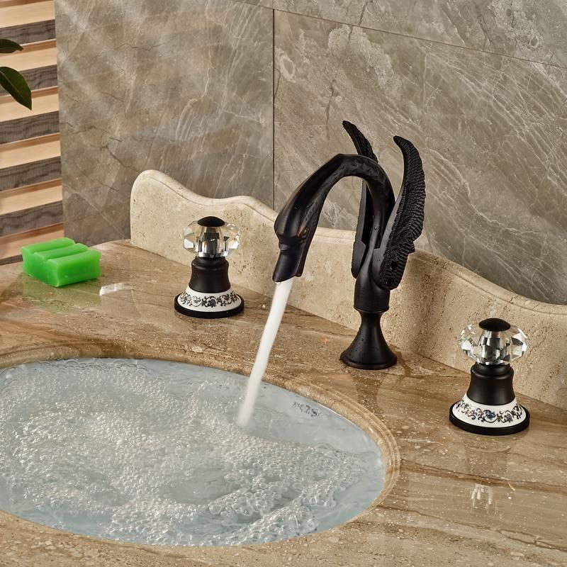 Luxury Cristal & Ceramic Handles Basin Mixer Faucet Deck Mount Double Handle Water Taps Oil Rubbed Bronze Finish