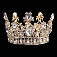 Luxury Wedding Crown Alloy Rhinestone Bridal Tiara Baroque Queen King Crown Gold Plated Water Drop Crystal