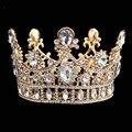 Liga Coroa de Strass Tiara De Noiva Casamento de luxo Barroco Rainha Rei Coroa banhado a Ouro Gota de Água Cristal Headband HG00195