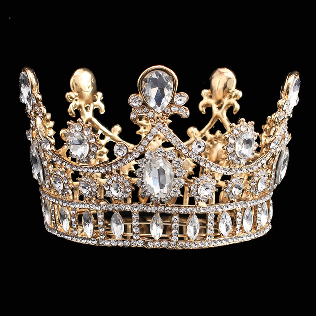 Luxury wedding crown alloy rhinestone bridal tiara baroque queen luxury wedding crown alloy rhinestone bridal tiara baroque queen king crown gold color water drop crystal thecheapjerseys Choice Image