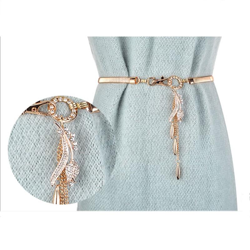 Women's High-grade Gold Four-leaf Elastic Belt Handmade Inlaid Rhinestones Pendant Lucky Leaf Tassel Elegant Temperament Belt