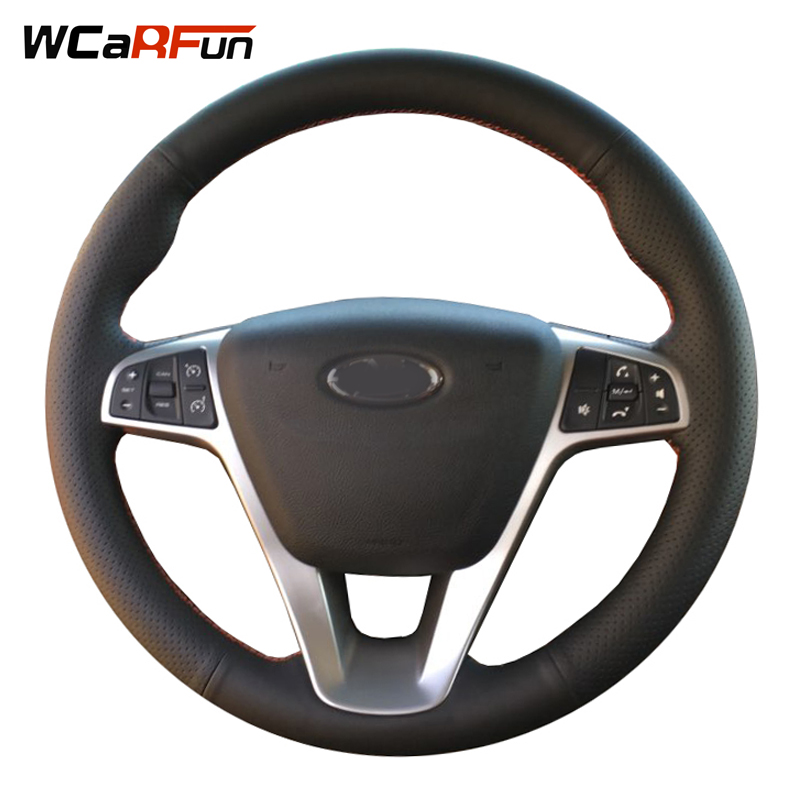 WCaRFun DIY Black Genuine Leather Hand-stitched Car Steering Wheel Cover for Lada Vesta 2015 2016 2017 diy hand stitched black red genuine leather car steering wheel cover for honda new fit city jazz 2014 2015 hrv hr v 2016