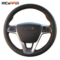 WCaRFun DIY Black Genuine Leather Hand stitched Car Steering Wheel Cover for Lada Vesta 2015 2016 2017