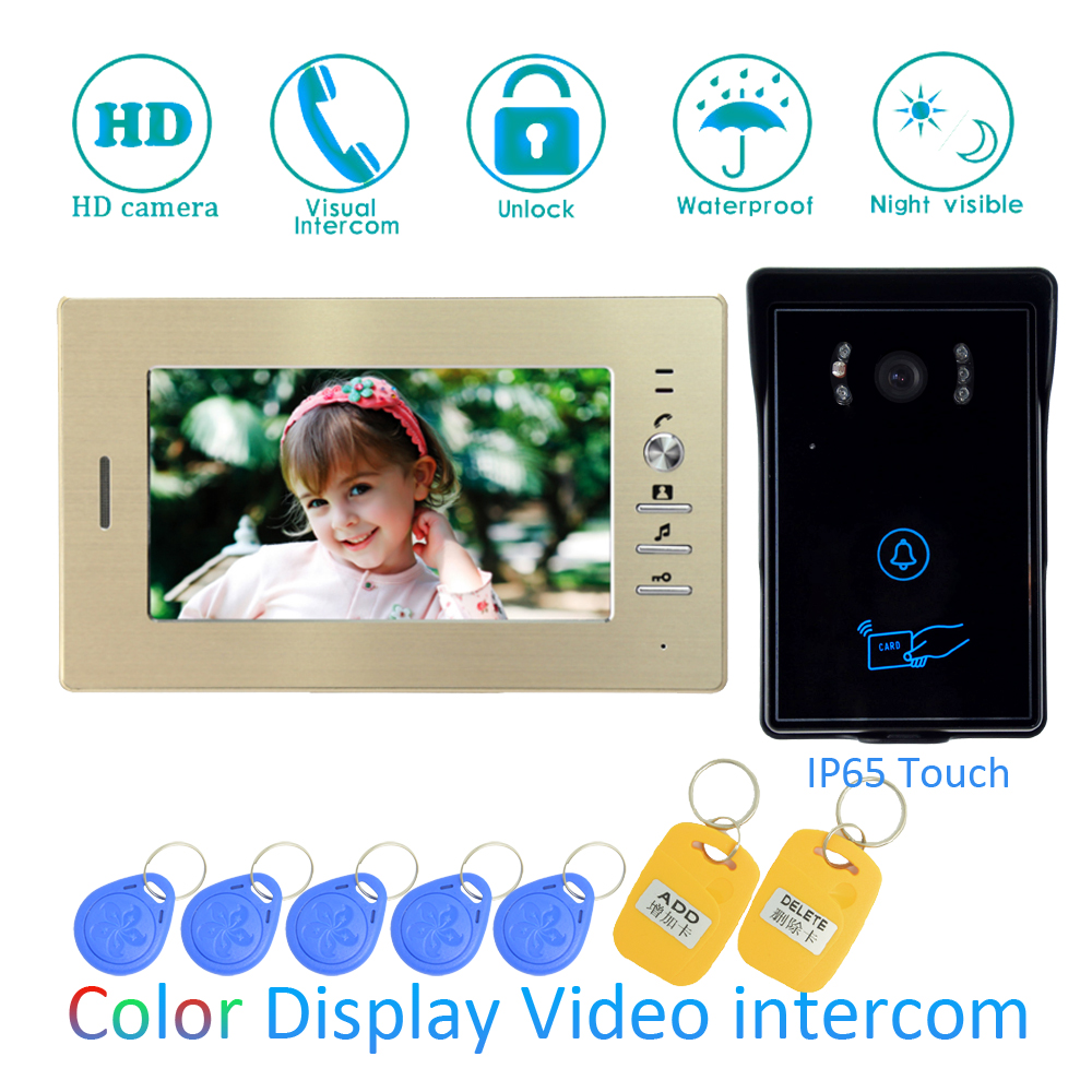 (1 SET) Video Intercom Improvement Tool Door Phone 7'' Touch Monitor With RFID Card Unlock Release Function Door Bell System