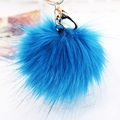 Korea Faux fox Fur Ball Keychain fur pom pom for monchichi Key chain car bag hanging Charm pendant keyring porte clef Key Holder