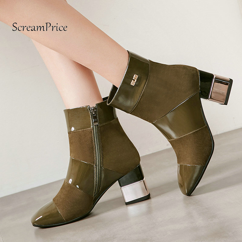 все цены на Woman Comfort Square Heel Zipper Suede Ankle Boots Fashion Pointed Toe Dress Boots Woman Black Brown Amry Gray