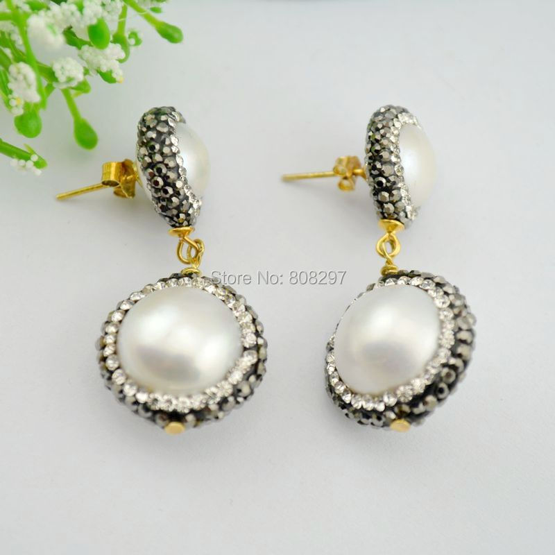 4Pairs Nature Shell Pearl Round Dangle Earrings with Crystal Zircon Paved Pearl Earrings, Charm Jewelry Earrings