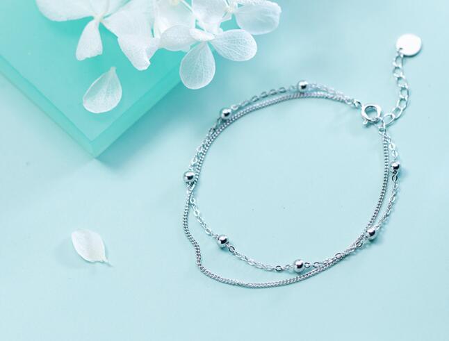 1 Stück 100% Authentische Echt. 925 Sterling Silber Edlen Schmuck Doppel-reihen/multi-schichten Poliert Perlen Runde Kette Armband Gtls737 GläNzend