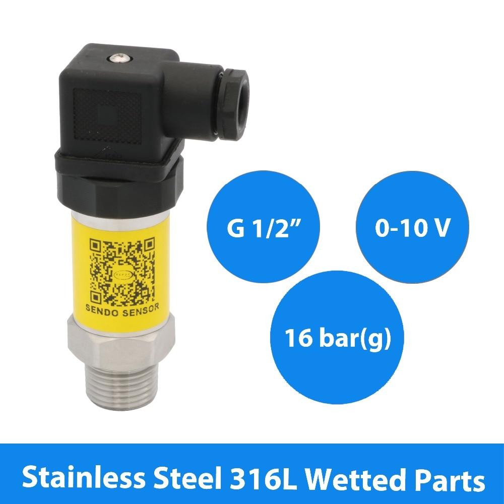 0 16 bar, transducer pressure sensor 0 10 Volt, 12V 30V DC power, 1.6Mpa gauge, G 1 2 inch, S. S. 316L wetted parts, Hirschmann