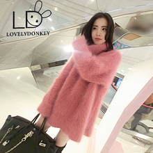 LOVELYDONKEYWarm color Plush mink cashmere turtleneck thickened turtleneck sweater shirt in the long section free shipping m290