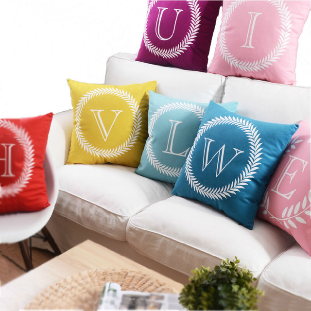Letter Decorative Cushions Cover Red Throw Pillows Colorful Cushion