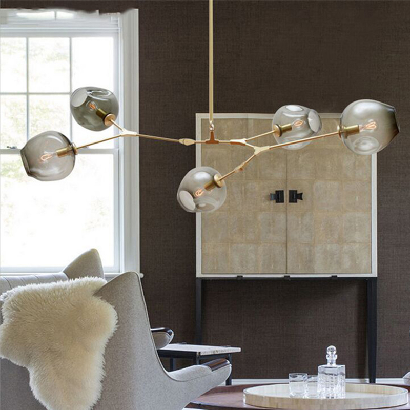 Ветвления пузырь Led подвесные светильники золото/черный корпус Nordic Обеденная Кухня легкие дизайнерские подвесной светильник AC110V 220 В