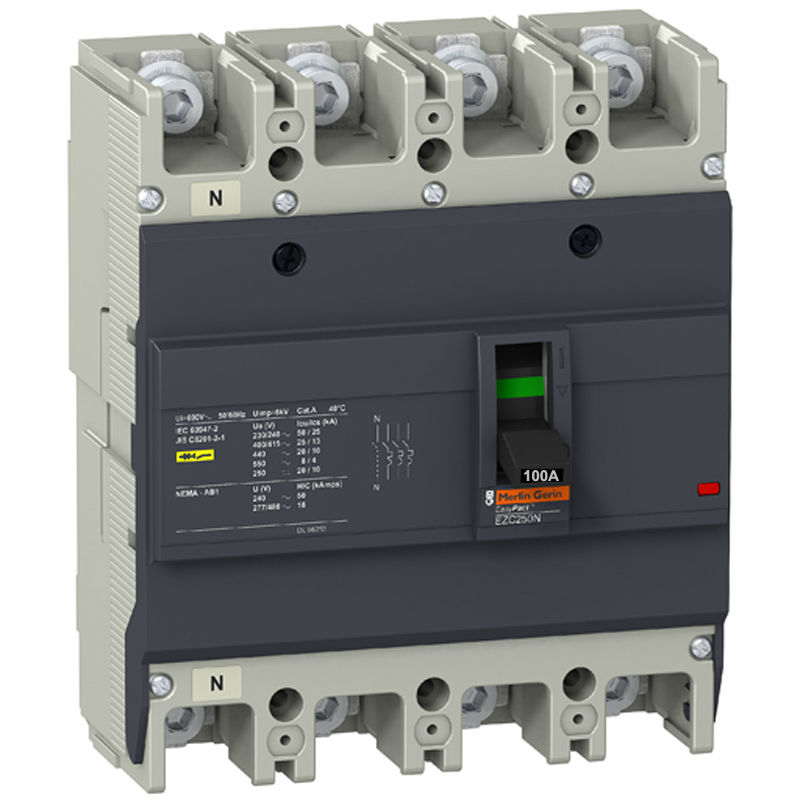 EZC250N4100  Circuit Breaker Easypact EZC250N 4P 100A 25KA 400/415V transparent shell three phase four wire 4p earth leakage circuit breaker dz20le 250 4300 100a