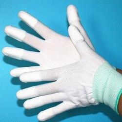 1 par Luvas Anti Estática ESD Antiestático Eletrônico Luvas de Trabalho de palma revestida do plutônio revestido dedo PC Anti-derrapante para a Protecção Dos Dedos