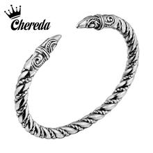 Chereda Punk Double Animal Head Bracelet Indian Jewelry Trendy Accessories Viking Bracelet Men Wristband Cuff Bracelets square faux gemstone double layered cuff bracelet