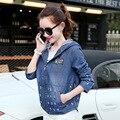2016 New Fashion Spring Autumn Female Jacket Coat Loose Hooded Vintage Denim Long Sleeve Jacket for Lady Tops D736